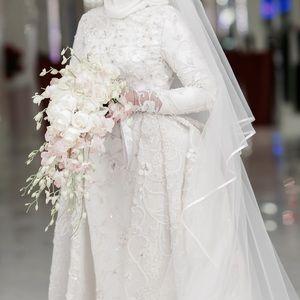 Beautiful custom made hand beaded wedding dress.